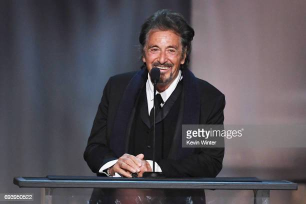 Actor Al Pacino speaks onstage during American Film Institute's 45th Life Achievement Award Gala Tribute to Diane Keaton at Dolby Theatre on June 8...