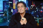 Actor Al Pacino speaks via sattelite about the new HBO Film 'Phil Spector' during the HBO Winter 2013 TCA Panel at The Langham Huntington Hotel and...