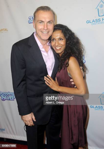 Actor Al Sapienza and actress Rekha Sharma arrive for the Premiere Of Glass House Distributions' 'Dropping The Soap' held at Writers Guild Theater on...
