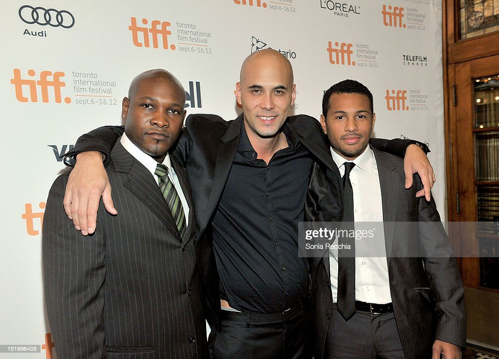 Actor Alain Bastien Director Kim Nguyen and actor Mizinga Mwinga attend the 'Rebelle' premiere during the 2012 Toronto International Film Festival at...