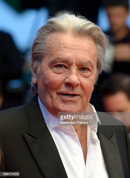 Actor Alain Delon attends the Premiere of 'Only Lovers Left Alive' during the 66th Annual Cannes Film Festival at the Palais des Festivals on May 25...