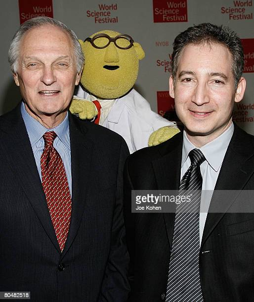 Actor Alan Alda and World Science Festival founder physicist Brian Greene pose for a photo with Muppet Scientist Dr Bunsen Honeydew at the 2008 World...