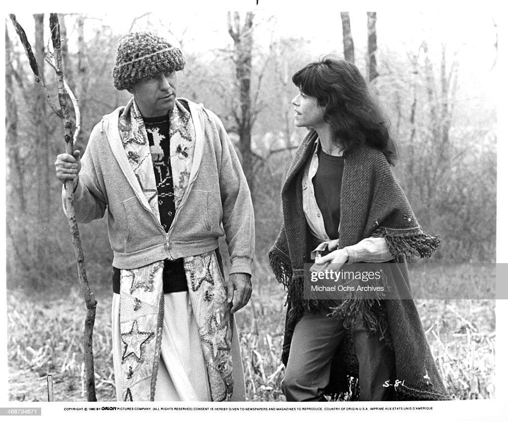 Actor Alan Arkin and actress Judy Graubart on set the movie 'Simon' circa 1980