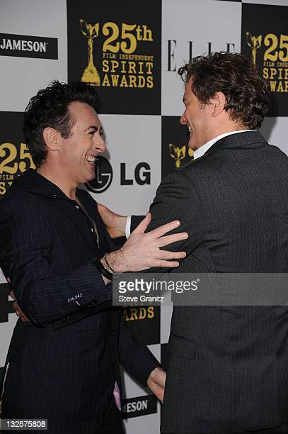 Actor Alan Cumming and Colin Firth arrive at the 25th Film Independent Spirit Awards held at Nokia Theatre LA Live on March 5 2010 in Los Angeles...