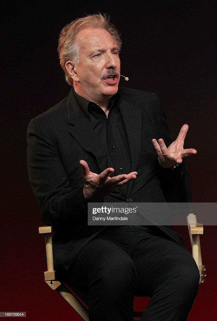 Actor <a gi-track='captionPersonalityLinkClicked' href=/galleries/search?phrase=Alan+Rickman&family=editorial&specificpeople=213254 ng-click='$event.stopPropagation()'>Alan Rickman</a> attends the Meet The Filmmakers event for Gambit at Apple Store, Regent Street on November 7, 2012 in London, England.