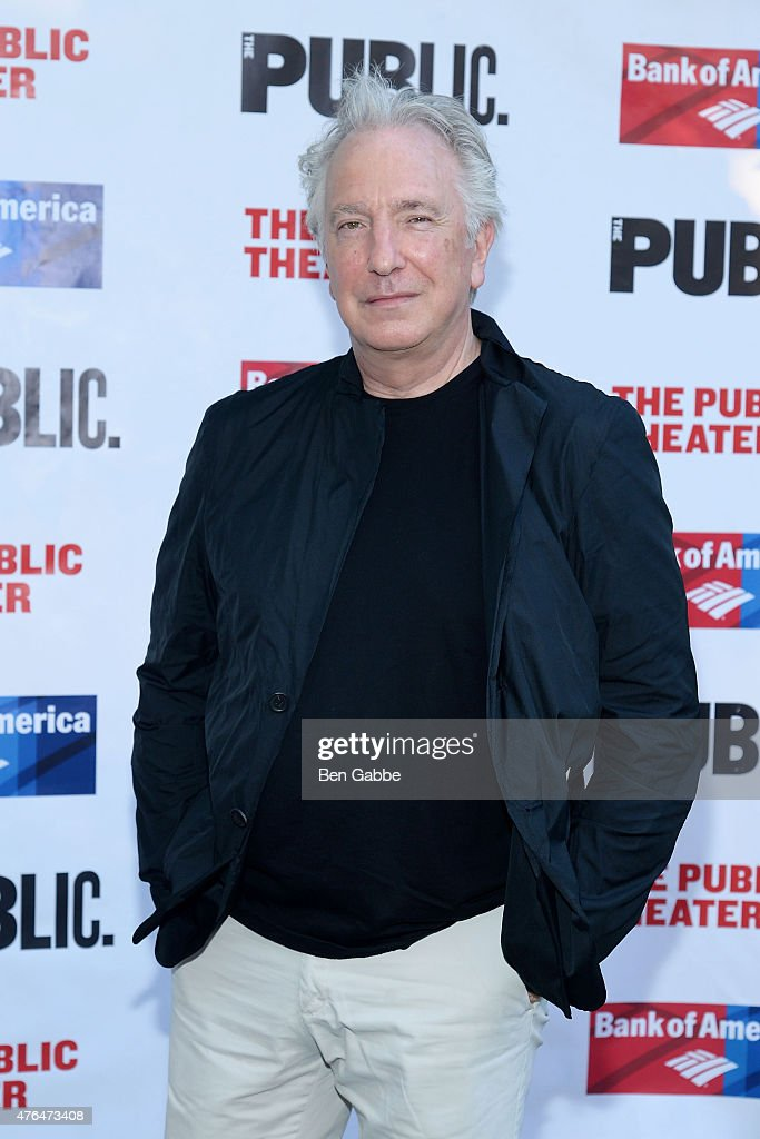 Actor Alan Rickman attends The Public Theater's Annual Gala at Delacorte Theater on June 9 2015 in New York City