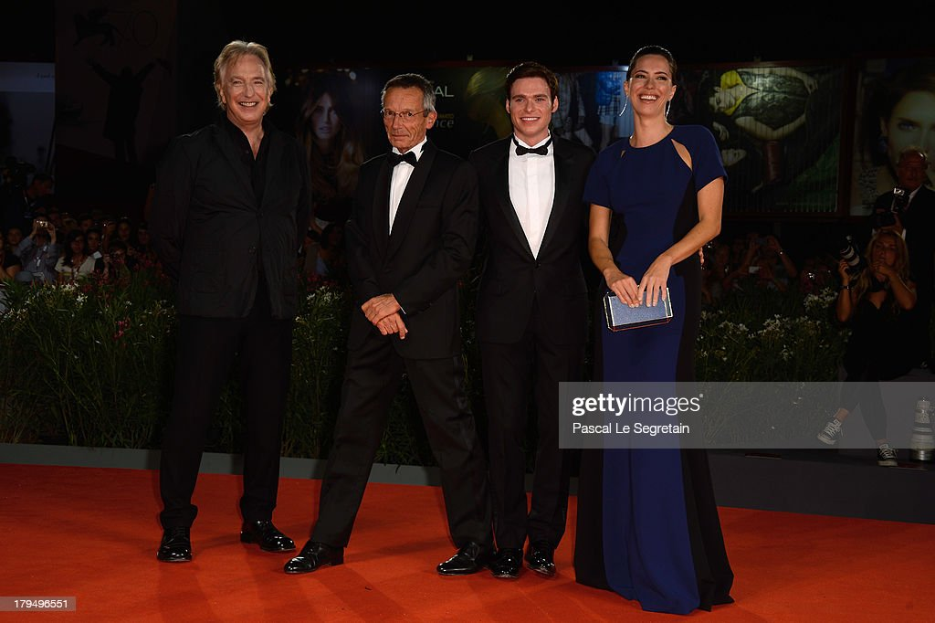 Actor Alan Rickman director Patrice Leconte and actors Richard Madden and Rebecca Hall attend the 'Une Promesse' Premiere during the 70th Venice...