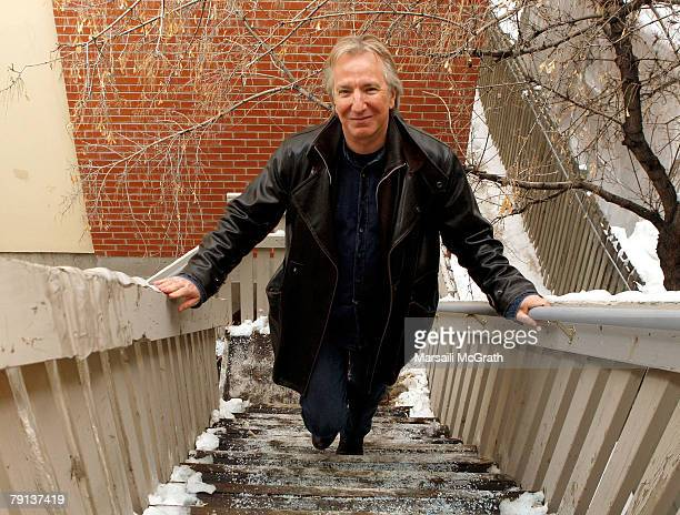 Actor Alan Rickman poses at the Gibson Guitar celebrity hospitality lounge held at the Miners Club during the 2008 Sundance Film Festival on January...