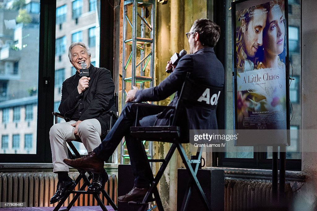 Actor Alan Rickman (L) speaks with Ricky Camilleri at the AOL Build Speaker Series at AOL Studios In New York on June 19, 2015 in New York City.