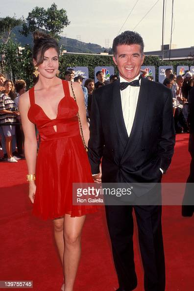 Actor Alan Thicke and date Gina Tolleson attending 'Bob HopeThe First 90 Years' Television Special on May 1 1993 at NBC Studios in Burbank California