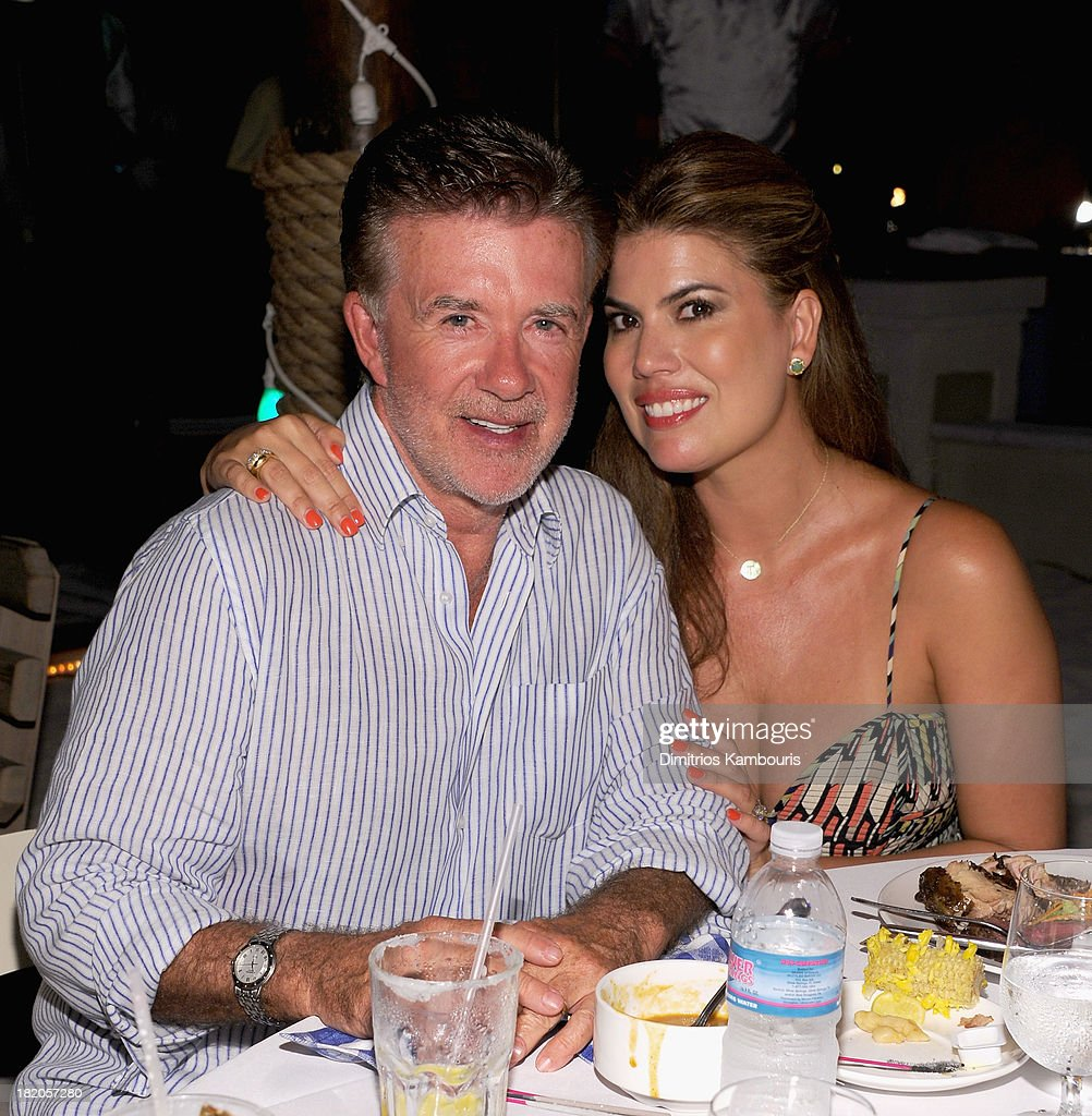 Actor Alan Thicke and Tanya Callau attend the Junkanoo Beach Party Dinner during Day One of the Sandals Emerald Bay Celebrity Getaway And Golf...