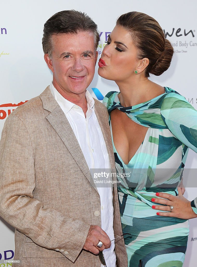 Actor <a gi-track='captionPersonalityLinkClicked' href=/galleries/search?phrase=Alan+Thicke&family=editorial&specificpeople=240157 ng-click='$event.stopPropagation()'>Alan Thicke</a> (L) and wife <a gi-track='captionPersonalityLinkClicked' href=/galleries/search?phrase=Tanya+Callau&family=editorial&specificpeople=235953 ng-click='$event.stopPropagation()'>Tanya Callau</a> attend the 15th Annual DesignCare on July 27, 2013 in Malibu, California.