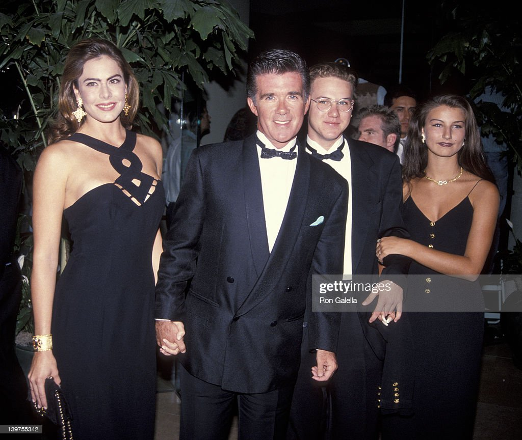 Actor Alan Thicke date Gina Tolleson son Brennan Thicke and date attending 'Carousel of Hope Ball Benefit' on October 2 1992 at the Beverly Hilton...
