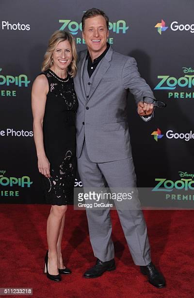 Actor Alan Tudyk and Charissa Barton arrive at the premiere of Walt Disney Animation Studios' 'Zootopia' at the El Capitan Theatre on February 17...