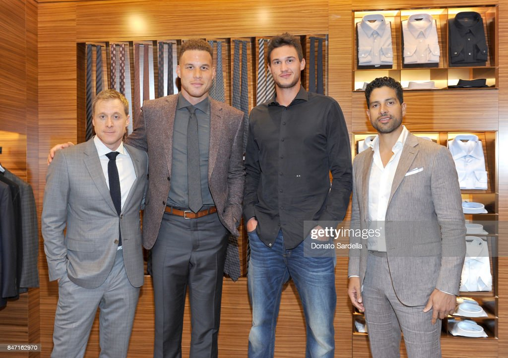 Actor Alan Tudyk, host Blake Griffin, profssional basketball player Danilo Gallinari and actor Adam Rodriguez at Ermenegildo Zegna Blake Griffin Beverly Hills event 2017 at Ermenegildo Zegna Boutique on September 14, 2017 in Beverly Hills, California.