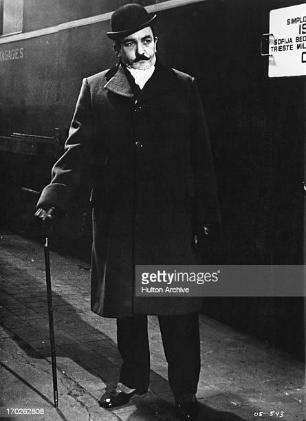 Actor Albert Finney as 'Hercule Poirot' in a scene from Agatha Christie's 'Murder On The Orient Express' 1974