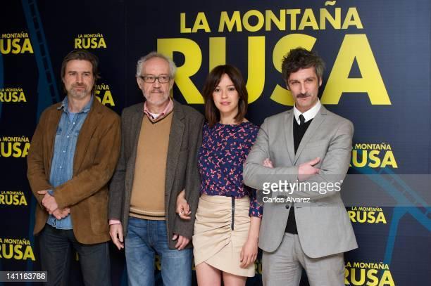 Actor Alberto San Juan director Emilio Martinez Lazaro actress Veronica Sanchez and actor Ernesto Alterio attend 'La Montana Rusa' photocall at...