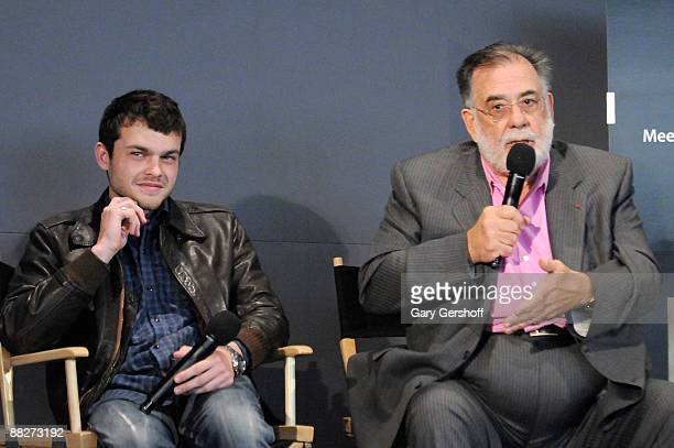 Actor Alden Ehrenreich and director Francis Ford Coppola visit the Apple Store in Soho on June 6 2009 in New York City