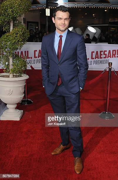 Actor Alden Ehrenreich arrives at the Los Angeles Premiere 'Hail Caesar' at Regency Village Theatre on February 1 2016 in Westwood California