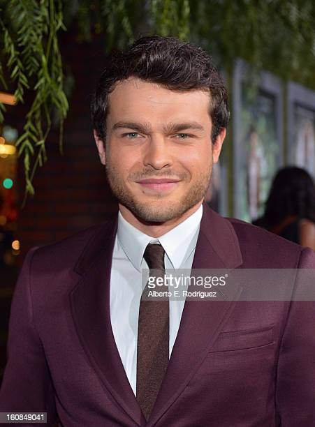 Actor Alden Ehrenreich attends the Los Angeles premiere of Warner Bros Pictures' 'Beautiful Creatures' at TCL Chinese Theatre on February 6 2013 in...