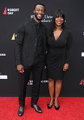 Actor Aldis Hodge and mom Yolette Evangeline Richardson arrive at the 3rd Biennial Rebels With A Cause Fundraiser at Barker Hangar on May 11 2016 in...