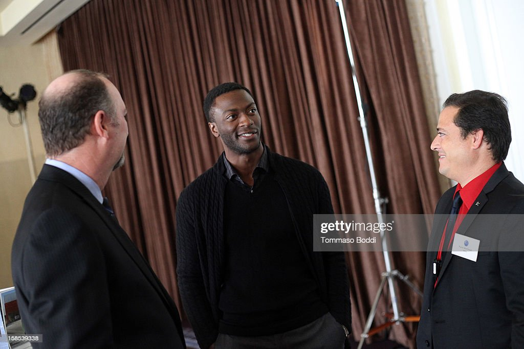 Actor <a gi-track='captionPersonalityLinkClicked' href=/galleries/search?phrase=Aldis+Hodge&family=editorial&specificpeople=2164244 ng-click='$event.stopPropagation()'>Aldis Hodge</a> attends the HRTS Digital/New Media Luncheon held at The Beverly Hilton Hotel on December 18, 2012 in Beverly Hills, California.