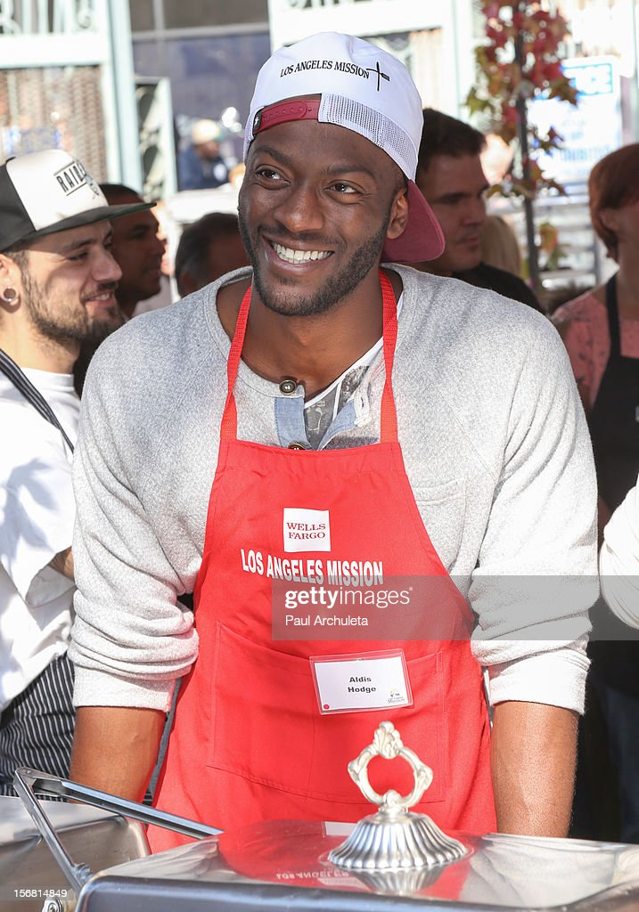 Actor <a gi-track='captionPersonalityLinkClicked' href=/galleries/search?phrase=Aldis+Hodge&family=editorial&specificpeople=2164244 ng-click='$event.stopPropagation()'>Aldis Hodge</a> attends the Los Angeles Mission Thanksgiving Dinner at Los Angeles Mission on November 21, 2012 in Los Angeles, California.