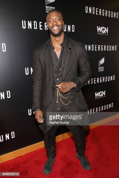 Actor Aldis Hodge attends WGN America's 'Underground' Season Two Premiere Screening at Regency Village Theatre on March 1 2017 in Westwood California