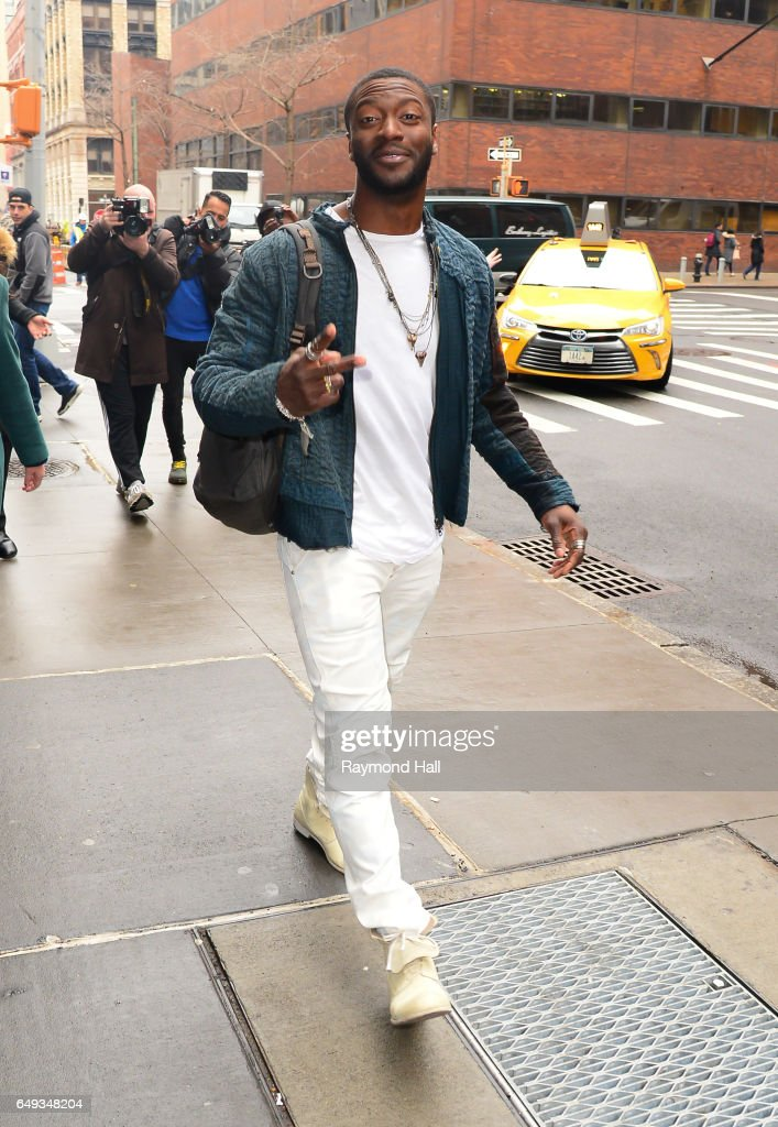 Actor Aldis Hodge is seen walking in Soho on March 7, 2017 in New York City.
