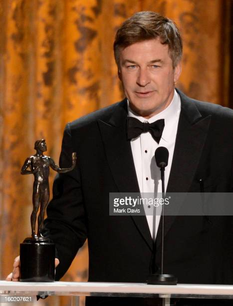 Actor Alec Baldwin accepts onstage the award for Outstanding Performance by a Male Actor in a Comedy Series for '30 Rock' during the 19th Annual...