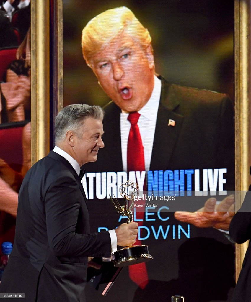 Actor Alec Baldwin accepts Outstanding Supporting Actor in a Comedy Series for 'Saturday Night Live' onstage during the 69th Annual Primetime Emmy Awards at Microsoft Theater on September 17, 2017 in Los Angeles, California.