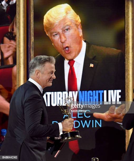 Actor Alec Baldwin accepts Outstanding Supporting Actor in a Comedy Series for 'Saturday Night Live' onstage during the 69th Annual Primetime Emmy...