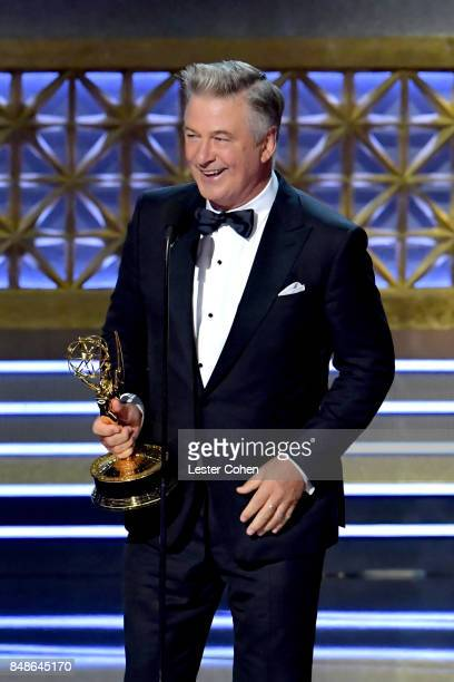 Actor Alec Baldwin accepts the Outstanding Supporting Actor in a Comedy Series award for 'Saturday Night Live' onstage during the 69th Annual...