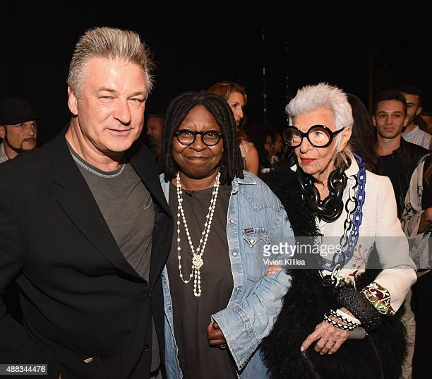 Actor Alec Baldwin Actress Whoopi Goldberg and Iris Apfel attend Carmen Marc Valvo Women's and Men's Collection S/S 2016 during New York Fashion Week...