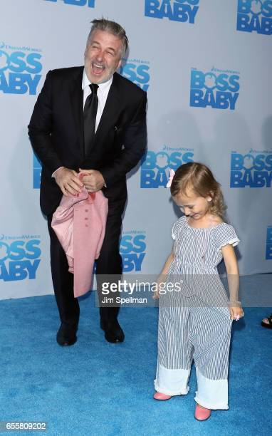 Actor Alec Baldwin and daughter Carmen Gabriela Baldwin attend 'The Boss Baby' New York premiere at AMC Loews Lincoln Square 13 theater on March 20...
