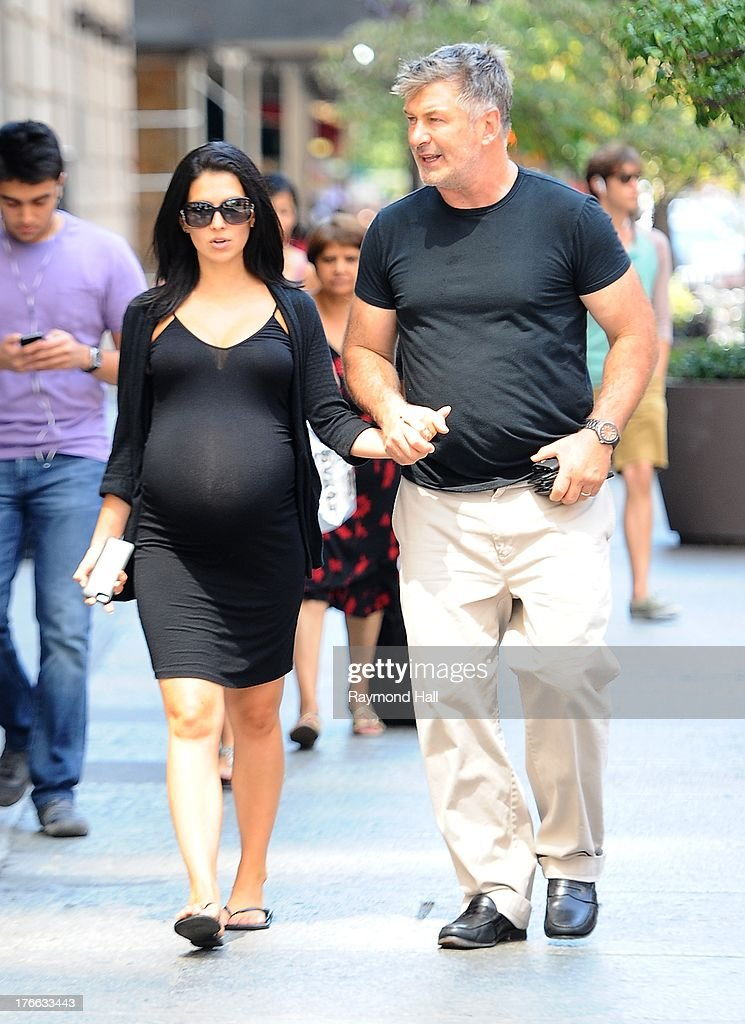 Actor <a gi-track='captionPersonalityLinkClicked' href=/galleries/search?phrase=Alec+Baldwin&family=editorial&specificpeople=202864 ng-click='$event.stopPropagation()'>Alec Baldwin</a> and Hilaria Baldwin are seen in Soho on August 16, 2013 in New York City.