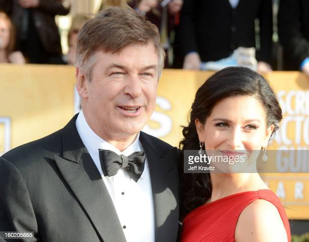 Actor Alec Baldwin and Hilaria Baldwin arrive at the 19th Annual Screen Actors Guild Awards held at The Shrine Auditorium on January 27 2013 in Los...