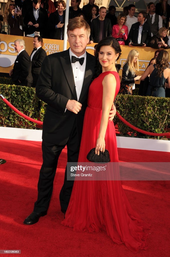 Actor Alec Baldwin (L) and Hilaria Thomas arrive at the 19th Annual Screen Actors Guild Awards held at The Shrine Auditorium on January 27, 2013 in Los Angeles, California.