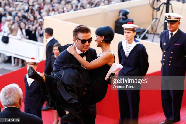 Actor Alec Baldwin and Hilaria Thomas attend opening ceremony and 'Moonrise Kingdom' premiere during the 65th Annual Cannes Film Festival at Palais...