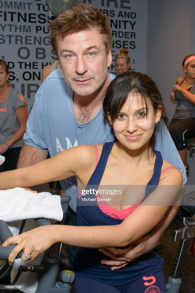 Actor <a gi-track='captionPersonalityLinkClicked' href=/galleries/search?phrase=Alec+Baldwin&family=editorial&specificpeople=202864 ng-click='$event.stopPropagation()'>Alec Baldwin</a> (L) and <a gi-track='captionPersonalityLinkClicked' href=/galleries/search?phrase=Hilaria+Thomas&family=editorial&specificpeople=7856471 ng-click='$event.stopPropagation()'>Hilaria Thomas</a> attend SoulCycle's Soul Relief Rides at SoulCycle Tribeca on November 11, 2012 in New York City.