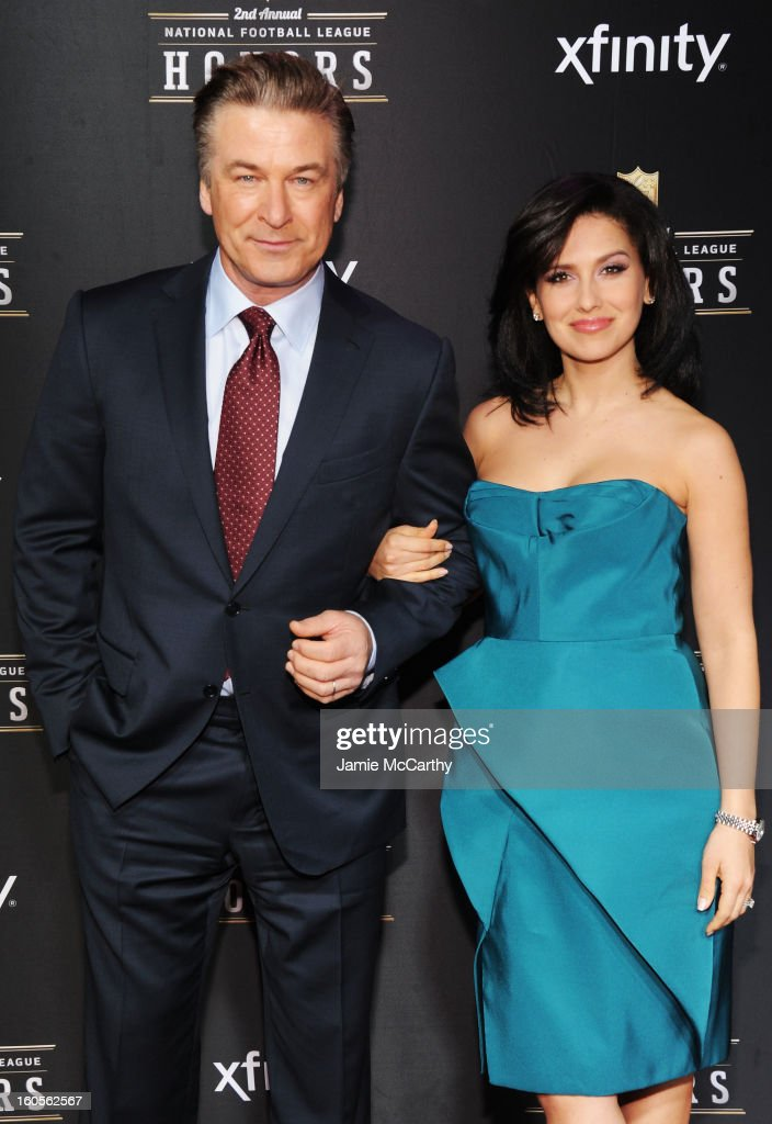 Actor Alec Baldwin (L) and Hilaria Thomas attend the 2nd Annual NFL Honors at Mahalia Jackson Theater on February 2, 2013 in New Orleans, Louisiana.