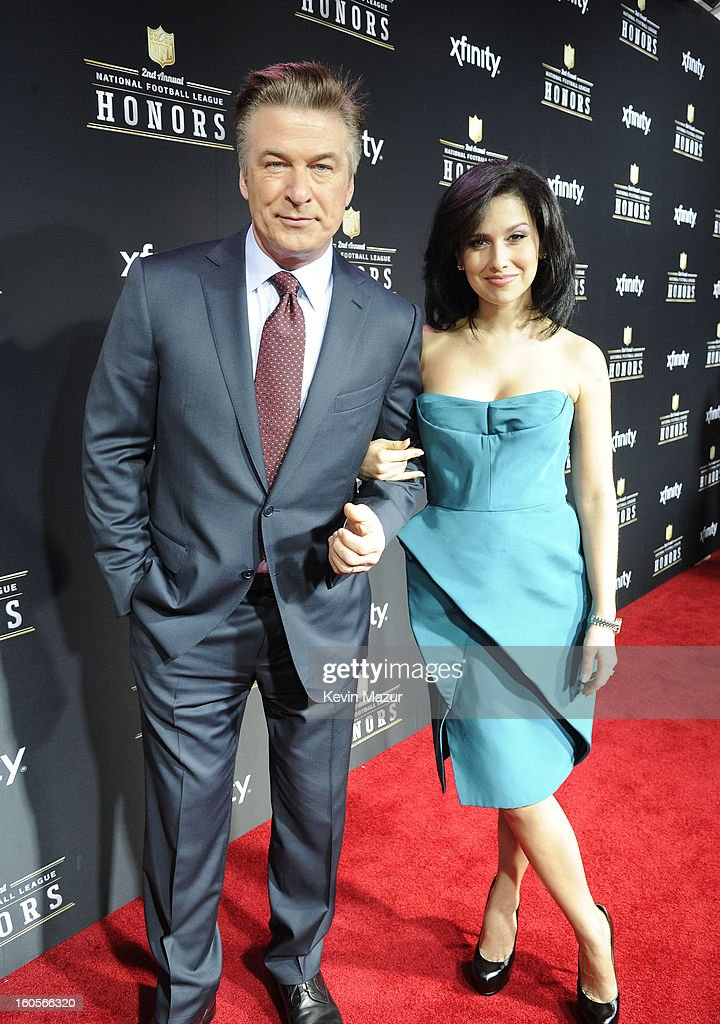Actor Alec Baldwin and Hilaria Thomas attend the 2nd Annual NFL Honors at the Mahalia Jackson Theater on February 2, 2013 in New Orleans, Louisiana.