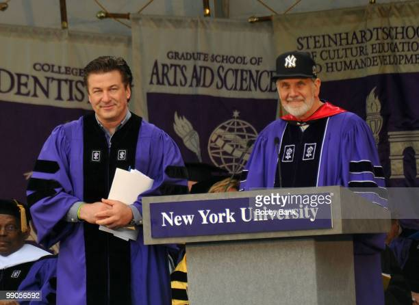 Actor Alec Baldwin and New York University president John Sexton attend the 2010 New York University Commencement ceremony at Yankee Stadium on May...