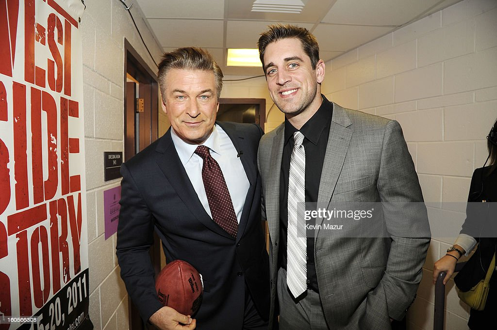 Actor Alec Baldwin (L) and professional football player Aaron Rodgers attend the 2nd Annual NFL Honors at the Mahalia Jackson Theater on February 2, 2013 in New Orleans, Louisiana.