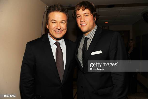 Actor Alec Baldwin and Professional Football Player Matthew Stafford attend the 2012 NFL Honors at the Murat Theatre on February 4 2012 in...