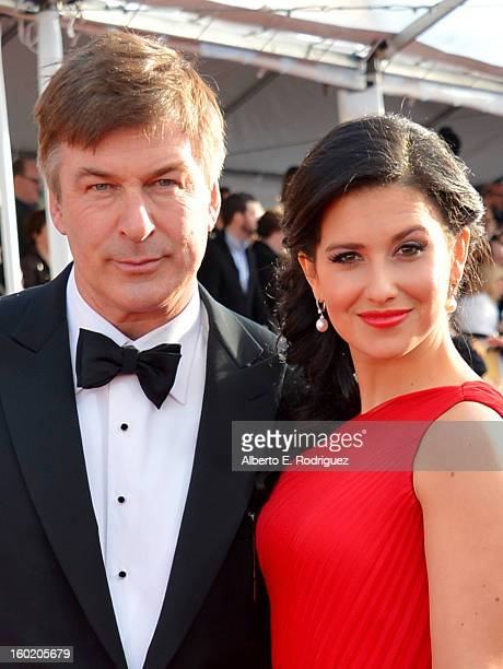 Actor Alec Baldwin and wife Hilaria Thomas arrive at the 19th Annual Screen Actors Guild Awards held at The Shrine Auditorium on January 27 2013 in...