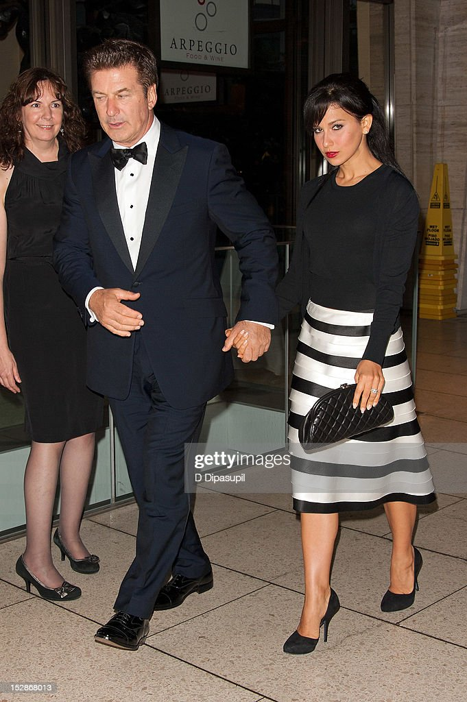 Actor <a gi-track='captionPersonalityLinkClicked' href=/galleries/search?phrase=Alec+Baldwin&family=editorial&specificpeople=202864 ng-click='$event.stopPropagation()'>Alec Baldwin</a> (2nd L) and wife <a gi-track='captionPersonalityLinkClicked' href=/galleries/search?phrase=Hilaria+Thomas&family=editorial&specificpeople=7856471 ng-click='$event.stopPropagation()'>Hilaria Thomas</a> attend the New York Philharmonic 171st season opening gala at Avery Fisher Hall at Lincoln Center for the Performing Arts on September 27, 2012 in New York City.