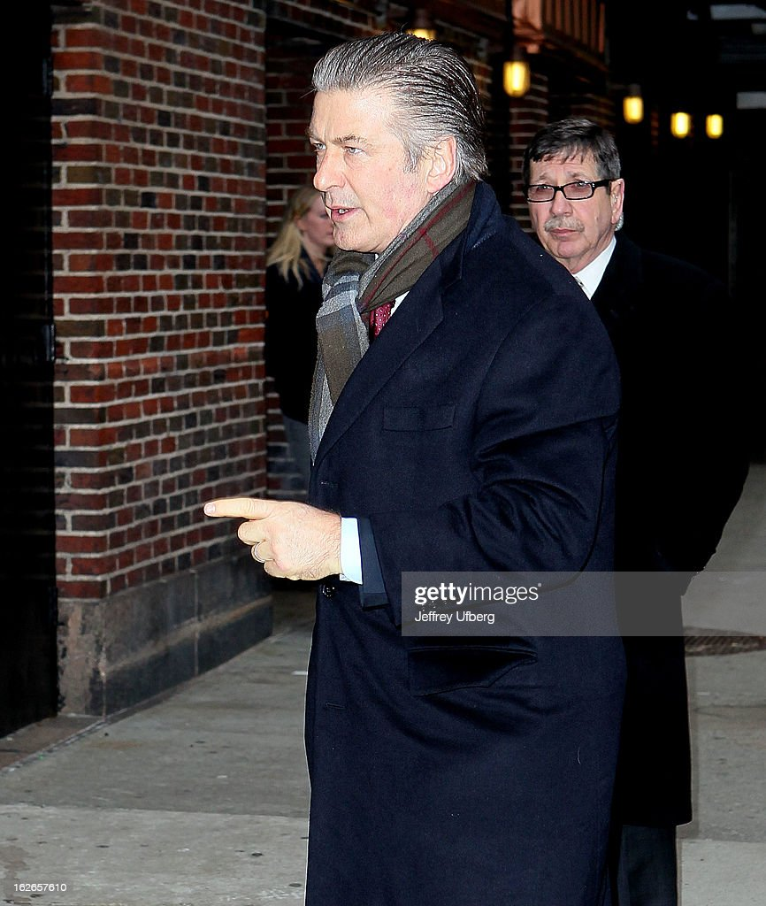 Actor Alec Baldwin arrives to 'Late Show with David Letterman' at Ed Sullivan Theater on February 25, 2013 in New York City.
