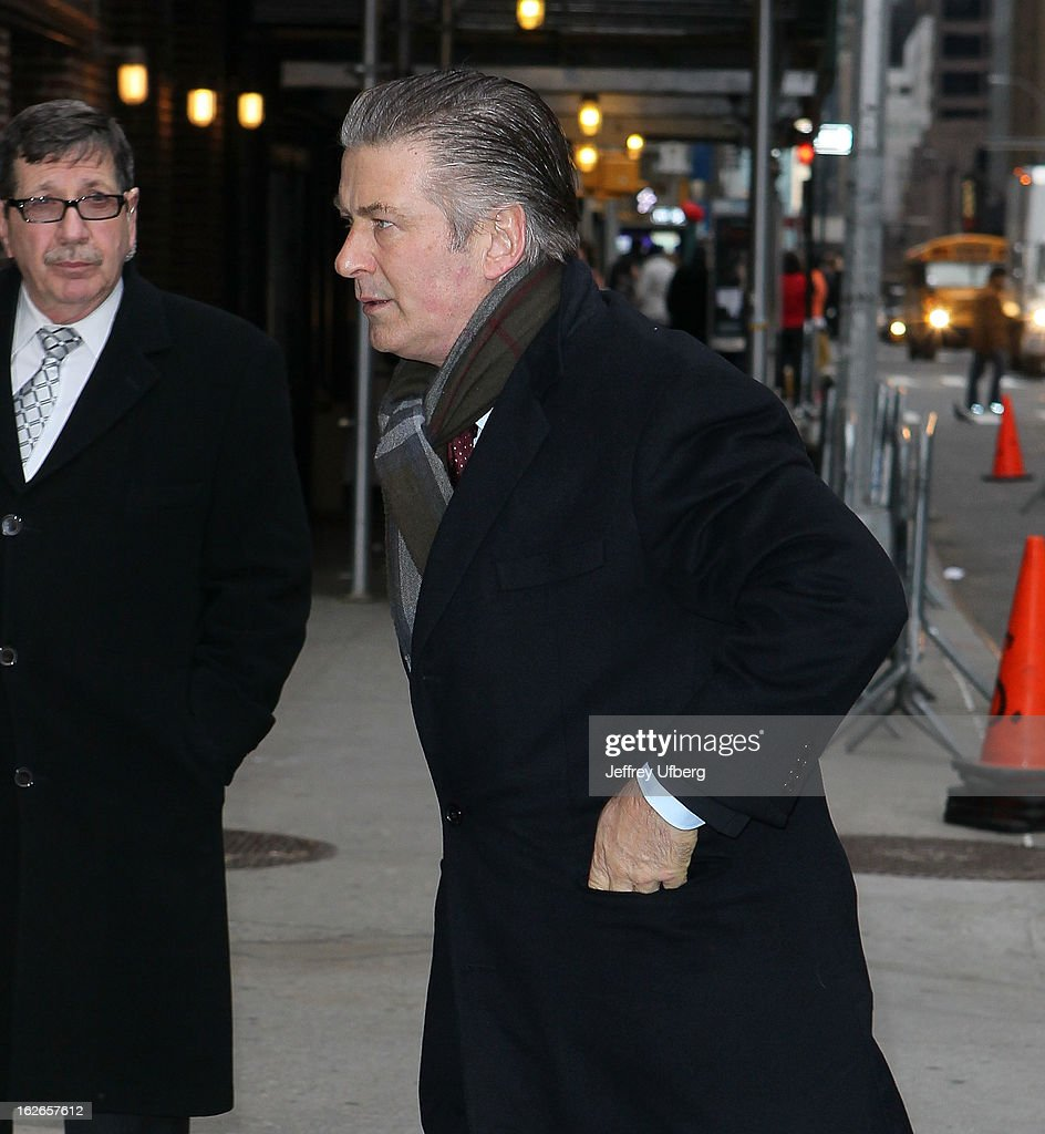 Actor <a gi-track='captionPersonalityLinkClicked' href=/galleries/search?phrase=Alec+Baldwin&family=editorial&specificpeople=202864 ng-click='$event.stopPropagation()'>Alec Baldwin</a> arrives to 'Late Show with David Letterman' at Ed Sullivan Theater on February 25, 2013 in New York City.