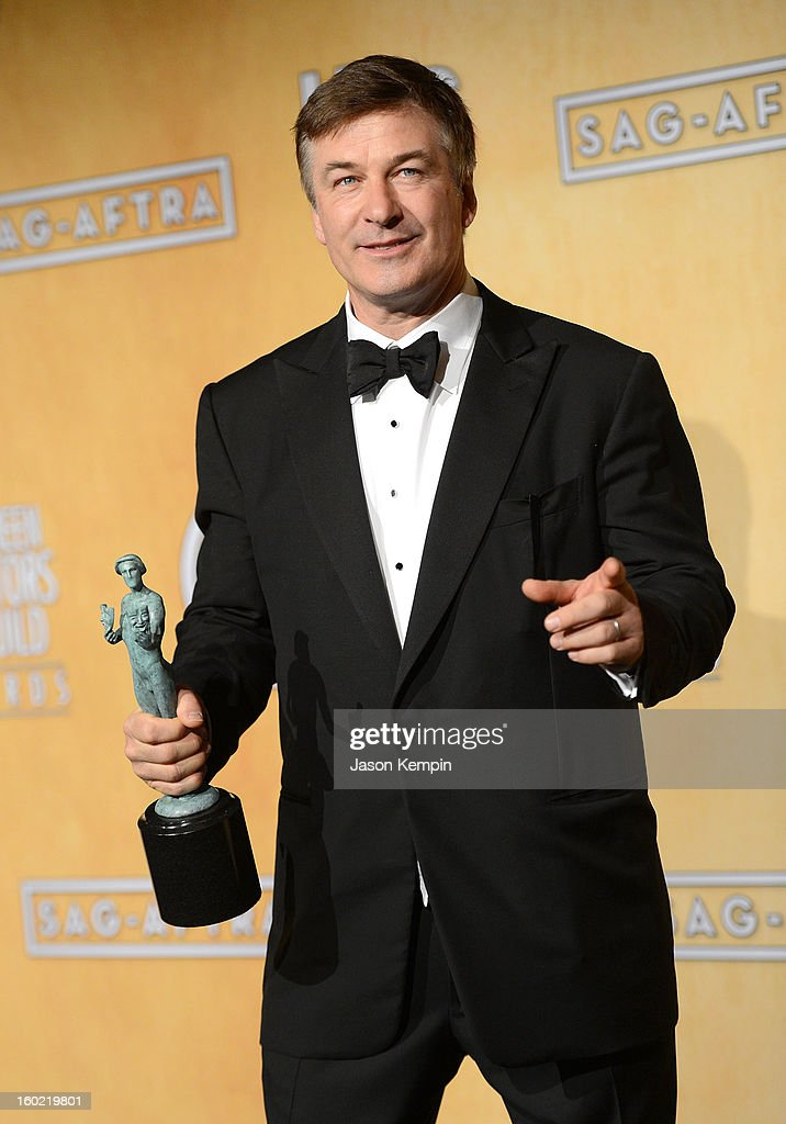 Actor <a gi-track='captionPersonalityLinkClicked' href=/galleries/search?phrase=Alec+Baldwin&family=editorial&specificpeople=202864 ng-click='$event.stopPropagation()'>Alec Baldwin</a> attends the19th Annual Screen Actors Guild Awards Press Room at The Shrine Auditorium on January 27, 2013 in Los Angeles, California.